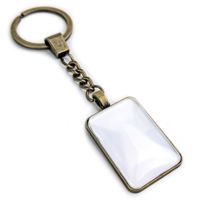 Picture of Sublimation Crystal Alloy Keychain Antique Gold Rectangle