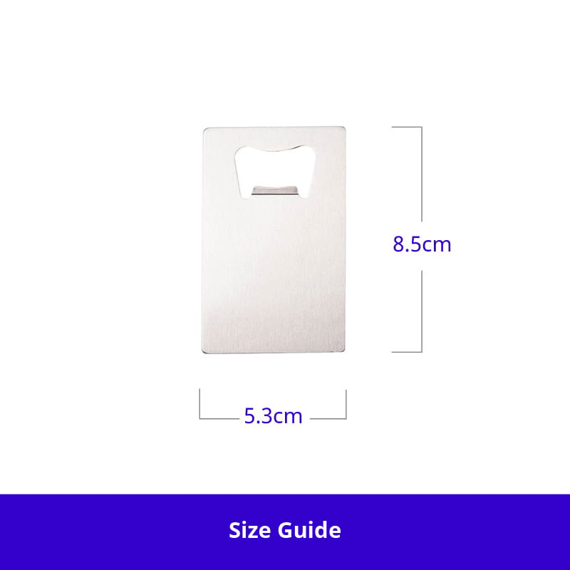 Photo showing dimensions of Sublimation Stainless Steel 5.3cm x 8.5cm Credit Card Bottle Opener